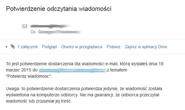 Poczta home.pl - Przykładowa wiadomość e-mail z potwierdzeniem odczytania wiadomości