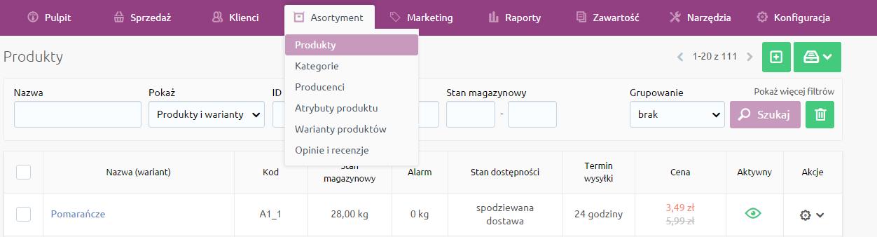 Sklep internetowy - Asortyment - Wybierz opcje menu Produkty