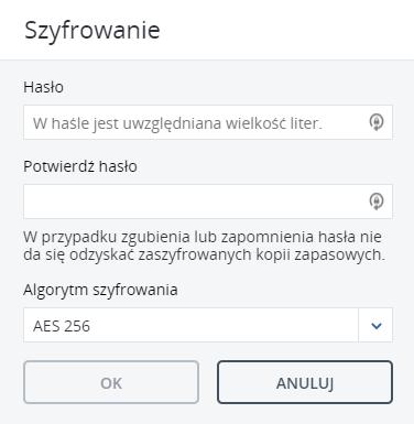 Szyfrowanie kopii zapasowej Acronis Backup