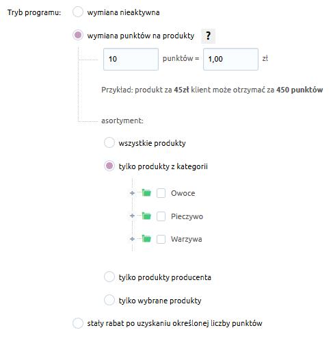 Sklep internetowy - Konfiguracja - Marketing - Program lojalnościowy - Wymiana punktów - Tryb programu - Wskaż do wymiany wszystkie lub wybrane produkty
