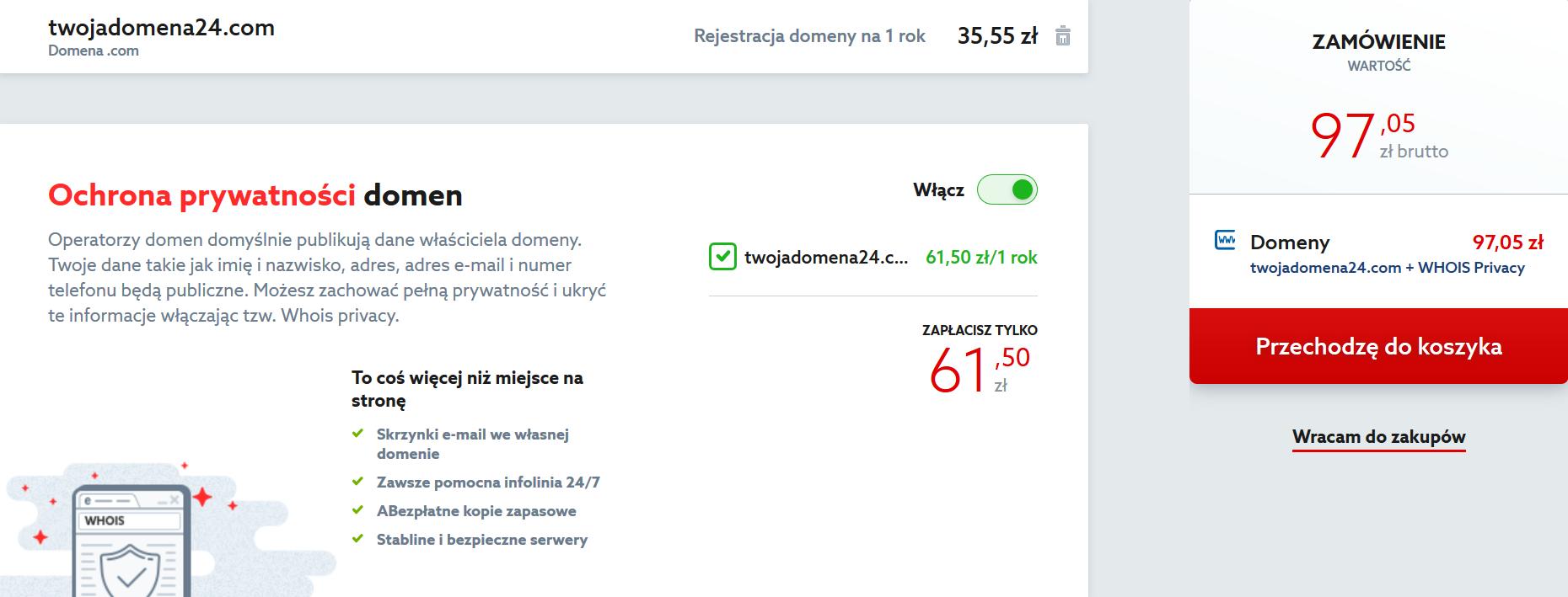 Domeny w home.pl - Wyszukiwarka wolnych nazw domen - Wybrana domena - Do koszyka - Wyłącz lub włącz dodatkową usługę: Ochrona prywatności dla domeny globalnej