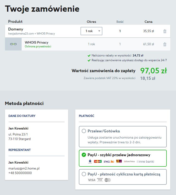 Domeny w home.pl - Wyszukiwarka wolnych nazw domen - Wybrana domena - Koszyk - Zamów - Sprawdź te informacje oraz wybierz metodę płatności