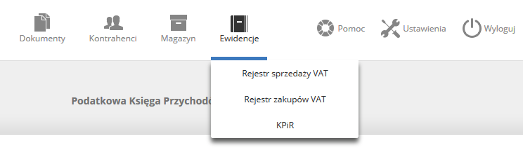 eKsięgowość - Panel Klienta - Ewidencje - Nowe nazwy opcji po aktualizacji