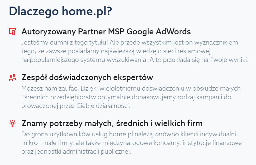 Dlaczego home.pl? - Autoryzowany Partner MSP Google AdWords - Zespół doświadczonych ekspertów - Znamy potrzeby małych, średnich i wielkich firm