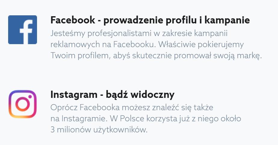 Portale Społecznościowe - Facebook (prowadzenie profilu i kampanie) i Instagram (bądź widoczny)