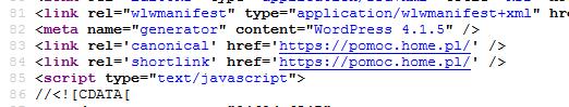 Kod HTML - Usuń informacje o wersji WordPress jaką używasz