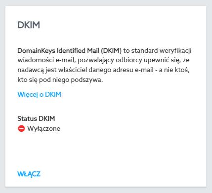W module DKIM możesz dodać rekord TXT dla DKIM jednym kliknięciem myszki