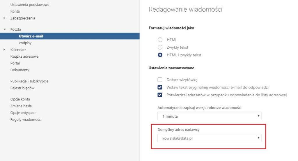 Poczta home.pl - Konto - Ustawienia - Poczta - Utwórz e-mail - W polu Domyślny adres nadawcy ustaw adres nadawcy wiadomości e-mail