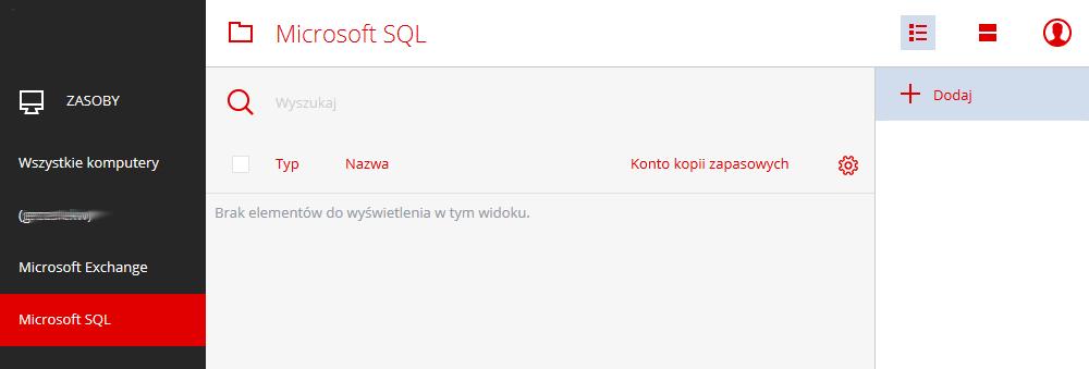 Acronis Backup - Microsoft SQL - Wybierz nazwę komputera