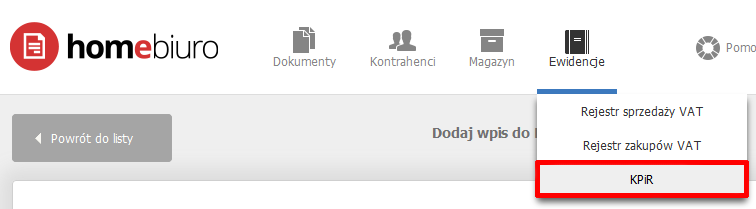 eKsięgowość - Ewidencje - Wybierz opcję KPiR