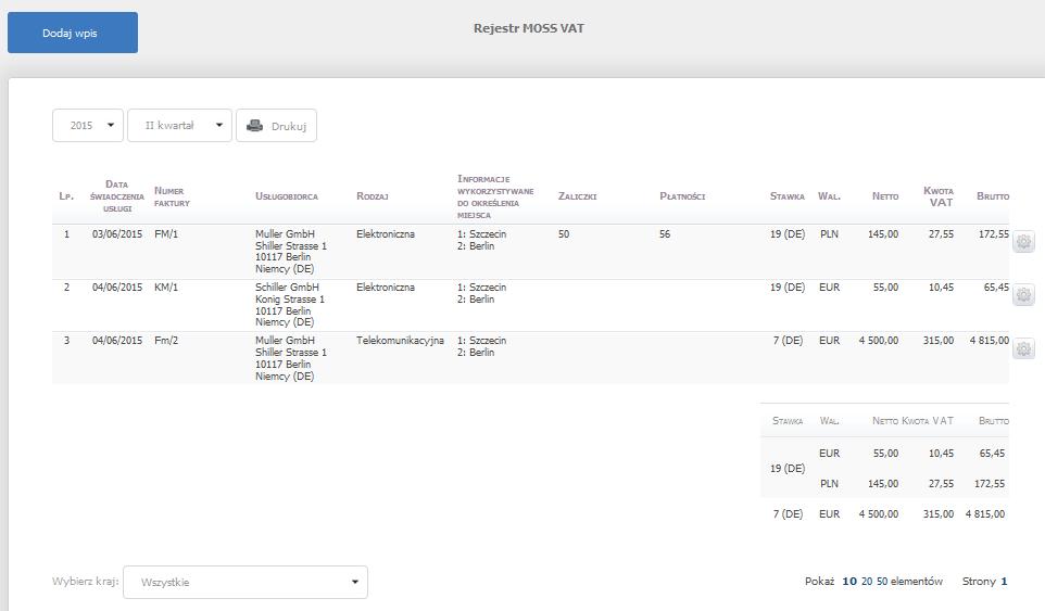 eKsięgowość - Ewidencje - Rejestr MOSS VAT - Kliknij przycisk Dodaj wpis