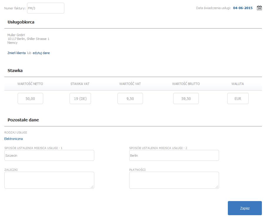 eKsięgowość - Ewidencje - Rejestr MOSS VAT - Dodaj wpis - Uzupełnij dane i kliknij przycisk Zapisz