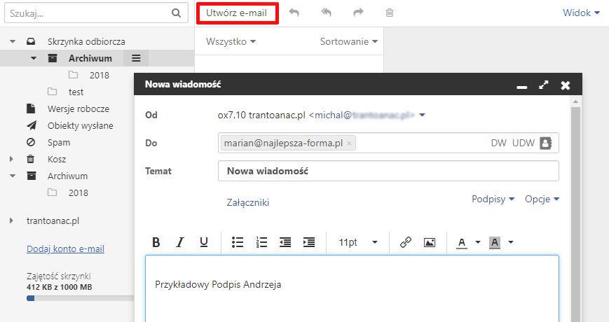 Poczta home.pl - W górnej części ekranu kliknij przycisk Utwórz e-mail