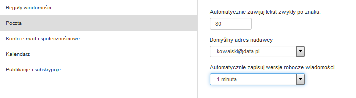 Poczta home.pl - Ustawienia - Poczta - Domyślny adres nadawcy - Upewnij się, że ustawiony adres odpowiada Twojemu adresowi e-mail