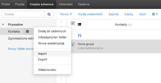 Poczta home.pl - Książka adresowa - Kontakty - Wybierz opcję Import