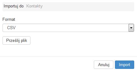 Poczta home.pl - Książka adresowa - Kontakty - Import - Pozostaw domyślny format CSV i kliknij przycisk Prześlij plik