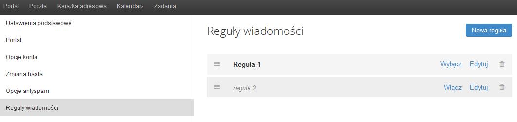 Poczta home.pl - Ustawienia - Reguły wiadomości - Kliknij przycisk Nowa reguła