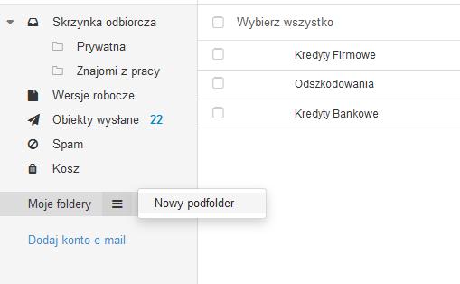 Poczta home.pl - Poczta - Odszukaj opcję Moje foldery i kliknij opcję Nowy podfolder