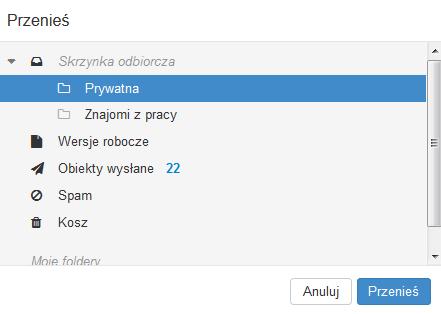 Poczta home.pl - Poczta - Lista wiadomości e-mail - Przenieś - Wskaż w drzewie katalogów folder, do którego chcesz przenieść wskazane wiadomości e-mail