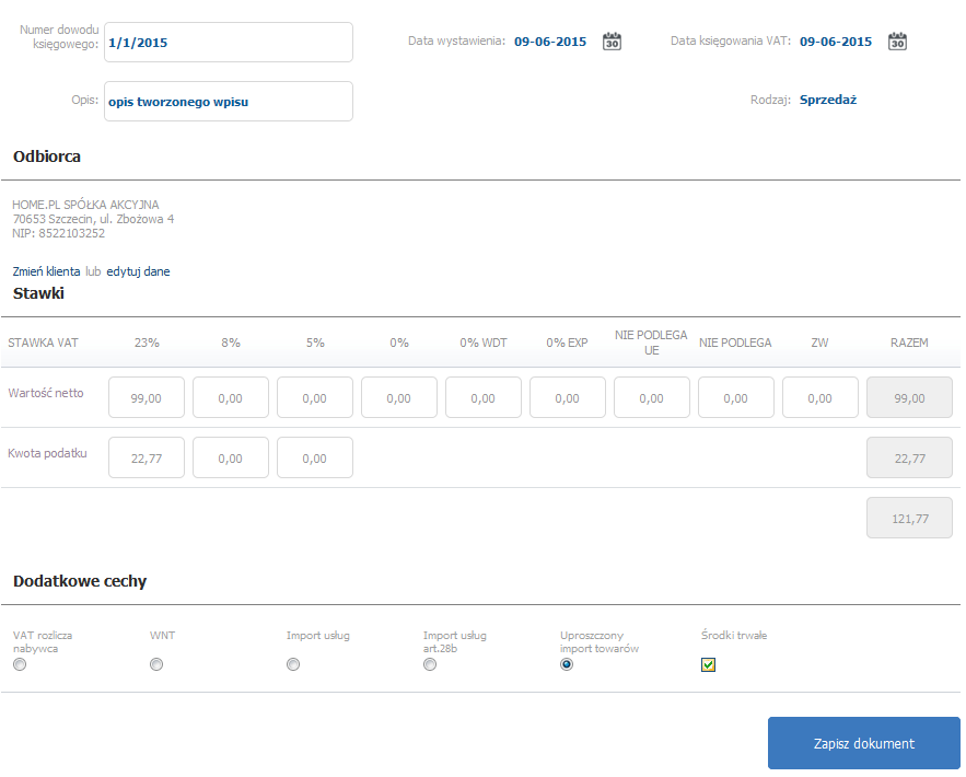 eKsięgowość - Ewidencje - Rejestr sprzedaży VAT - Dodaj wpis - Wypełnij formularz dodawania nowego wpisu do rejestru