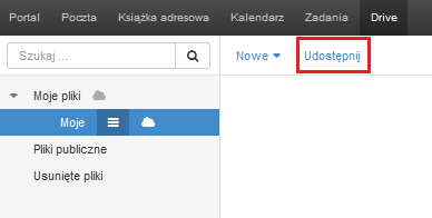 Poczta home.pl - Drive - Moje pliki - Moje - Kliknij przycisk Udostępnij