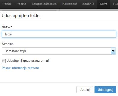 Poczta home.pl - Drive - Moje pliki - Moje - Udostępnij - Uzupełnij formularz