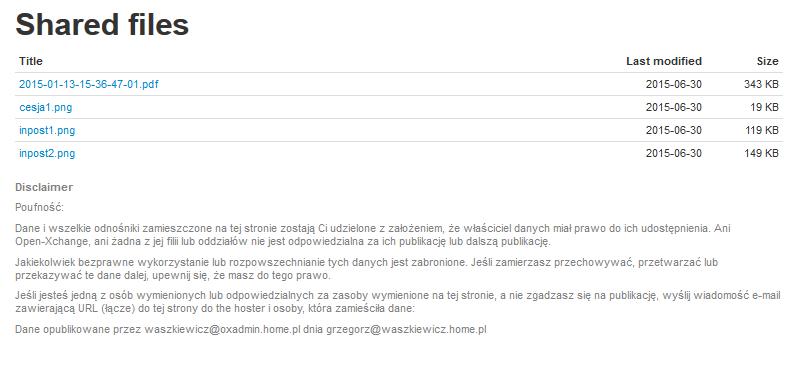 Przykład listy udostępnianych plików po wybraniu szablonu infostore.tmpl