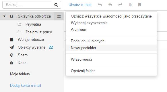 Poczta home.pl - Poczta - Kliknij nazwę folderu, dla którego chcesz utworzyć podfolder