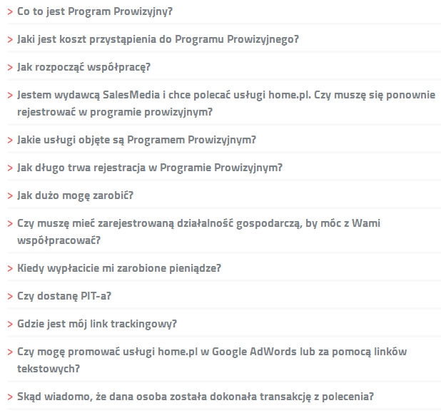 Przykładowe pytania najczęściej zadawanych pytań ze strony polecaj.home.pl