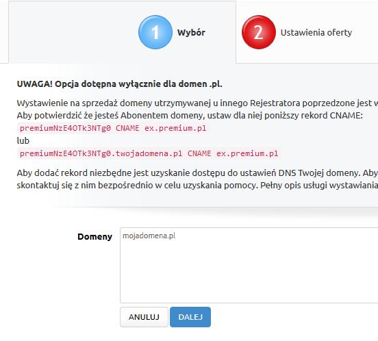 Premium.pl - Sprzedaż - Domeny z zewnątrz - Podaj nazwę domeny i kliknij Dalej