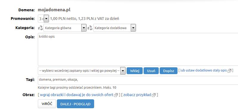 Premium.pl - Sprzedaż - Domeny z zewnątrz - Nazwa domeny - Podaj podstawowe informacje na temat wystawianej domeny