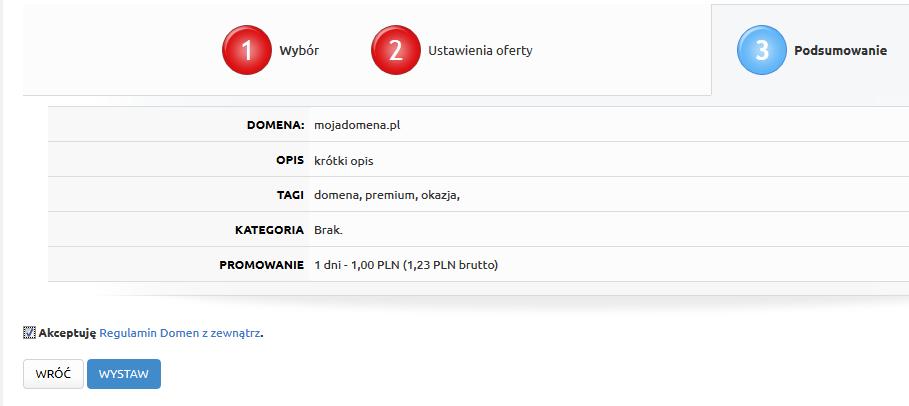 Premium.pl - Sprzedaż - Domeny z zewnątrz - Nazwa domeny - Formularz - Sprawdź wprowadzone informacje, zapoznaj się i zaakceptuj regulamin