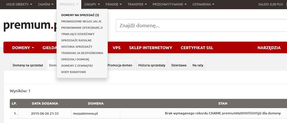 Premium.pl - Sprzedaż - Wybierz opcje Domeny na sprzedaż