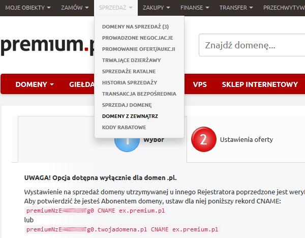Premium.pl - Sprzedaż - Wybierz opcje Domeny z zewnątrz