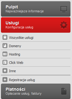 Panel Klienta - Wybierz opcje menu Usługi