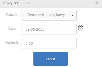 eKsięgowość - Ewidencje - KPiR - Remanenty - Dodaj - Remanent - Uzupełnij formularz