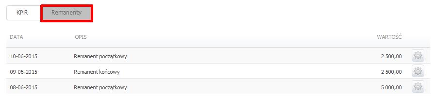 eKsięgowość - Ewidencje - KPiR - Kliknij w zakładkę Remanenty