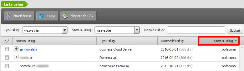Co oznacza status mojej usługi w Panelu klienta home.pl?