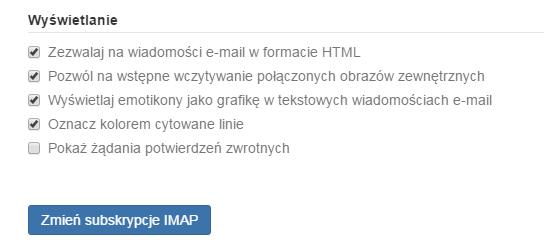 Poczta home.pl - Ustawienia - Poczta - Wyświetlanie - Odszukaj pole Podpisy