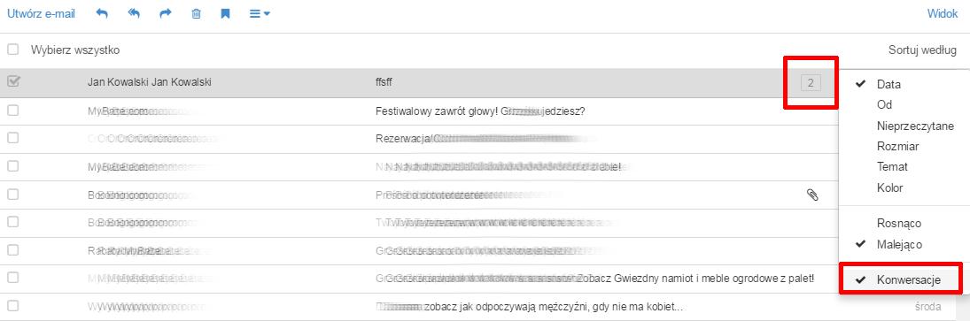 Poczta home.pl - Sortuj według - Wybierz tryb sortowania oraz zaznacz opcję Konwersacje