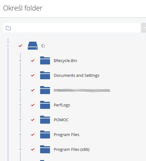 Acronis Backup - Nazwa użytkownika - Nazwa komputera - Kopia zapasowa - Dodaj plan tworzenia kopii zapasowych - Elementy uwzględniane w kopii zapasowej - Wybierz pliki i/lub foldery