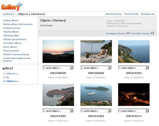 Gallery - Przykładowy widok galerii internetowej w gotowej aplikacji użytkowej