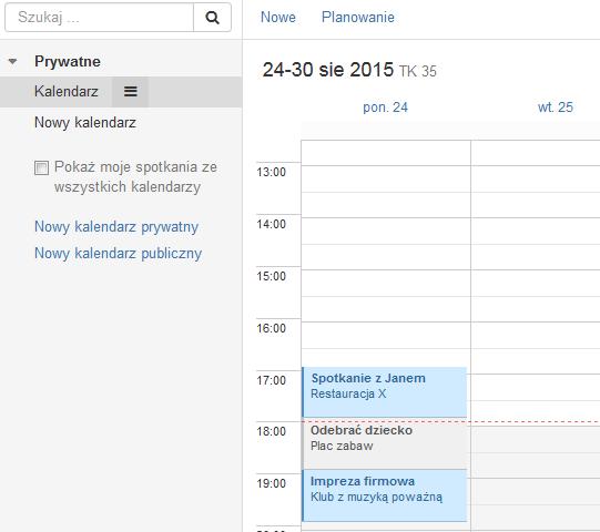 Poczta home.pl - Kalendarz - Kliknij spotkanie, które chcesz podejrzeć lub edytować