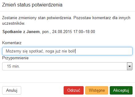 Poczta home.pl - Kalendarz - Wybrane spotkanie - Podgląd spotkania - Kliknij w opcje Zmień status