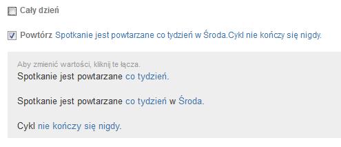 Poczta home.pl - Kalendarz - Nowe - Utwórz zdarzenie - Ustaw cykl zdarzenia