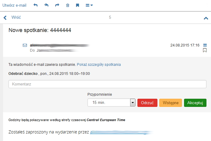 Poczta home.pl - Kalendarz - Przykładowa wiadomość do zaakceptowania zaproszenia do spotkania
