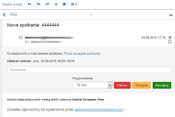 Poczta home.pl - Wiadomość e-mail - Przykładowy widok wiadomości z zaproszeniem na wydarzenie - Zaakceptuj zdarzenie