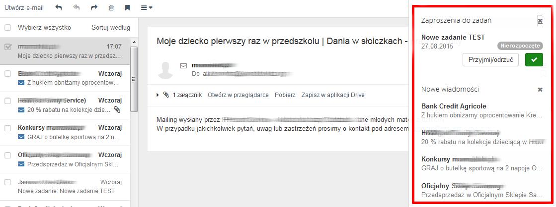 Poczta home.pl - Wiadomość e-mail - Zaproszenia do zadań - Dodatkowe przypomnienie - Przyjmij lub odrzuć zdarzenie