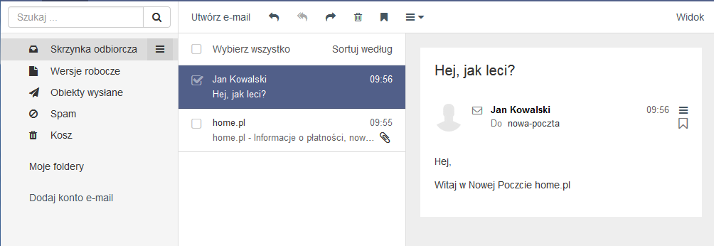 Poczta home.pl - Motyw kolorystyczny - Ametystowy - Przykładowy widok ekranu głównego