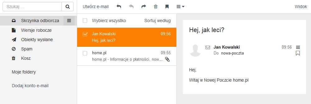 Poczta home.pl - Motyw kolorystyczny - Bursztynowy - Przykładowy widok ekranu głównego